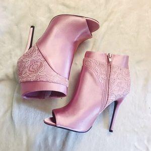 Pastel pink lace peep toe heels
